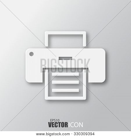 Printer Icon In White Style With Shadow Isolated On Grey Background.