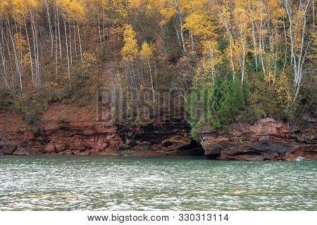 Stunning Fall Color Scenery On The Apostle Islands National Lakeshore On Lake Superior In Wisconsin