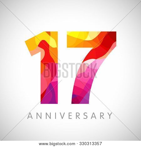 17 Th Anniversary Numbers. 17 Years Old Yellow Coloured Logotype. Age Congrats, Congratulation Idea.