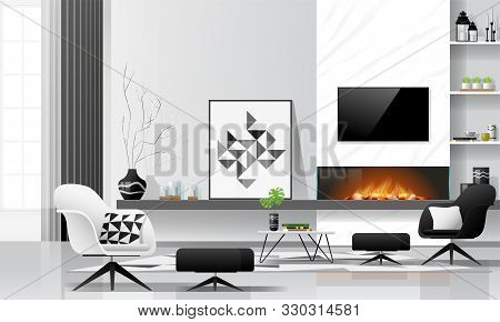 Modern Living Room Interior Background With Fireplace And Furniture In Black And White Theme , Vecto