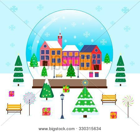 Merry Christmas, Winter Scene In A Snow Globe With Tiny Firs, Gifts, Houses. Wonderland Snowing City