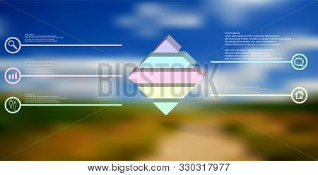 3d Illustration Infographic Template. The Embossed Rhomb Is Horizontally Divided To Five Color Parts