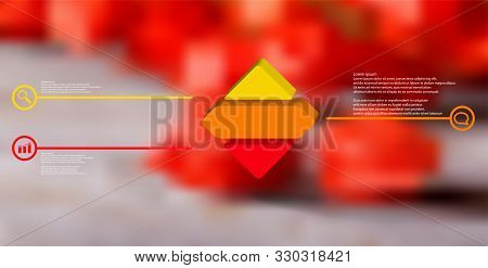 3d Illustration Infographic Template. The Embossed Rhomb Is Horizontally Divided To Three Color Part