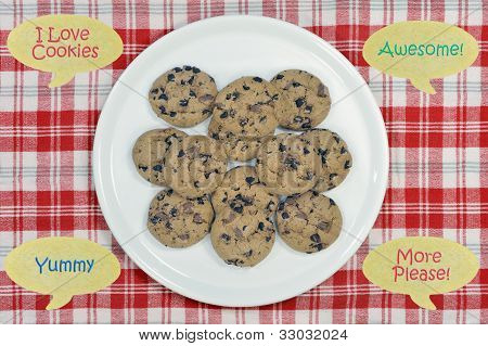 Cookies on plate with speech bubbles