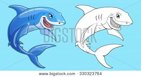 Smiling Shark Color And Contour On Blue