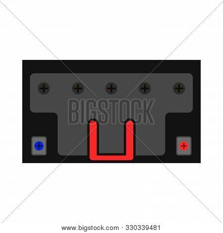 Car Auto Battery Top View Vector Icon. Equipment Transportation Black Accumulator Volt. Service Vehi