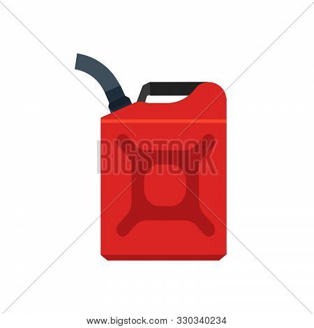 Jerry Can Red Canister Diesel Handle Flat Cap Jug Vector Icon. Produce Machine Gallon Fuel. Car Cant
