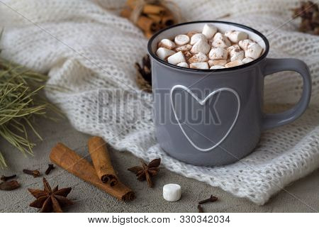 Winter And Autumn Hot Drinks. Winter Decoration. Grey Cup Of Hot Cocoa Or Chocolate With Marshmallow