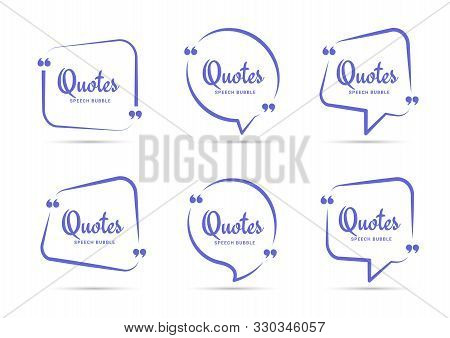 Quote Box Frame. Quotation Bubble Or Quotes Symbols For Blog. Texting Quote Boxes. Blank Template Fo