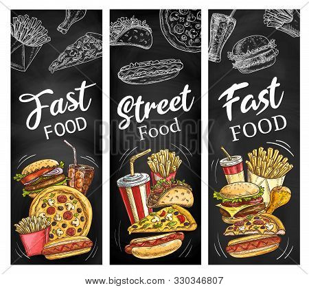 Fast Food Menu Blackboard With Meal And Drink Chalk Sketches. Vector Hamburger, Pizza And Hot Dog, F