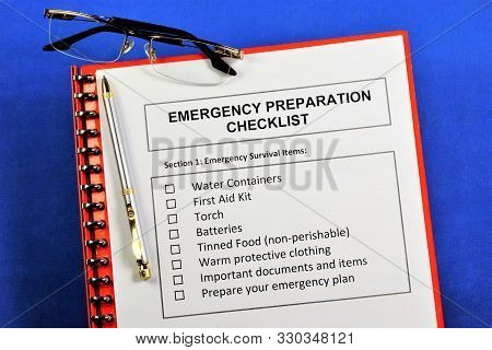 Emergency Preparedness Checklist.emergency Survival Items.water Containers, First Aid Kit, Torch, Ba