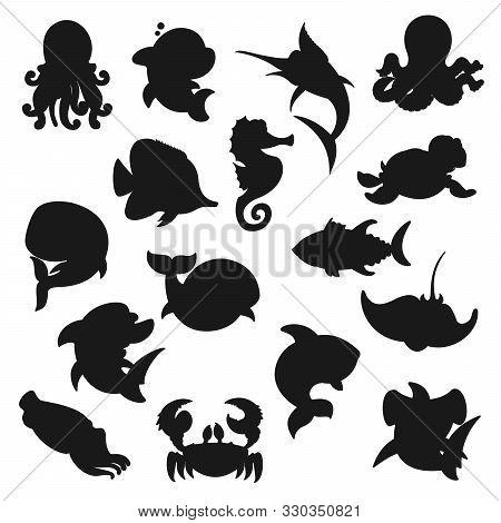 Sea Animals, Fishes And Ocean Creatures Silhouette Icons. Vector Underwater World, Aquarium And Ocea