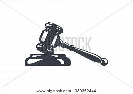 Hammer Of Justice Vector Illustation. Judges Gavel And Soundboard. Judge Or Auction Hammer. Law And