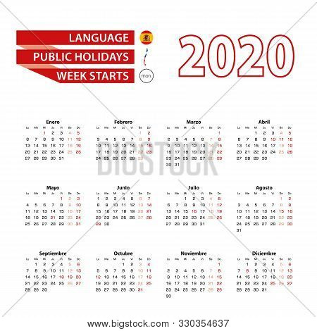 Calendar 2020 In Spanish Language With Public Holidays The Country Of Chile In Year 2020. Week Start