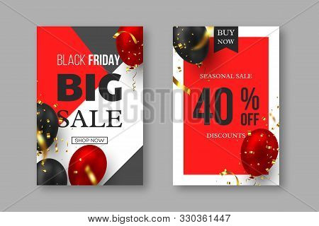 Black Friday Sale Posters. 3d Red And Black Realistic Glossy Balloons With Golden Serpentine. Grey,