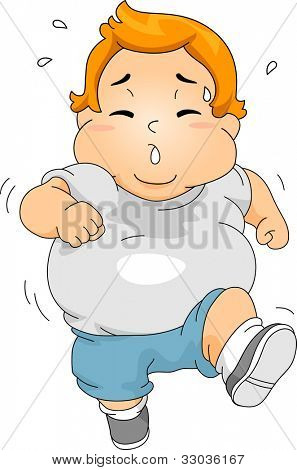 Illustration of an Overweight Boy Jogging