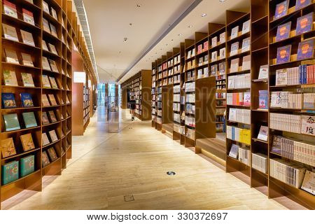 SHENZHEN, CHINA - APRIL 15, 2019: interior shot of YAN BookStore at the MixC Shenzhen Bay shopping mall