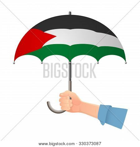 Palestine Flag Umbrella. Weather Symbols. National Flag Of Palestine Vector Illustration