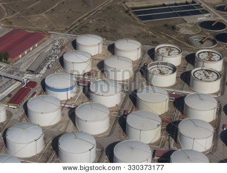Madrid, Spain - Circa October 2017: Aerial View Of A Oil And Gas Storage Plant