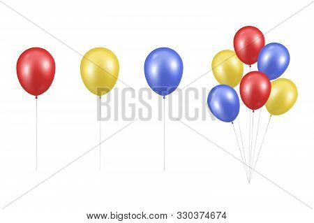 Vector Realistic Glossy Metallic Red, Yellow, Blue Balloon Set Closeup Isolated On White Background.