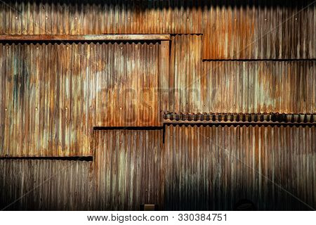 Dark Grunge Texture Corrugated Metal Background, Surface Of The Rusted Steel, Slum Wall Decayed Area