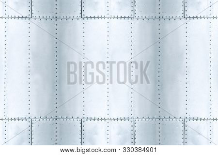 Detail Of Old Grunge Piece Of Metal Plate With Bolts, Aluminum Surface Background