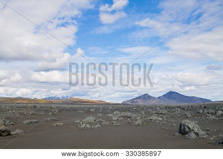 Desolate Landscape Along Central Highlands Of Iceland.