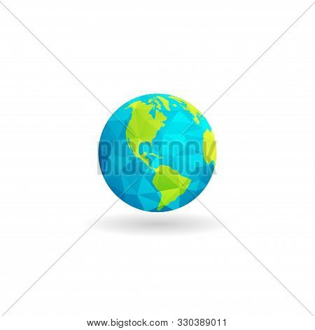 Low Poly Globe Design Map Of Continental America Isolated White Background. Earth Globe Design For P