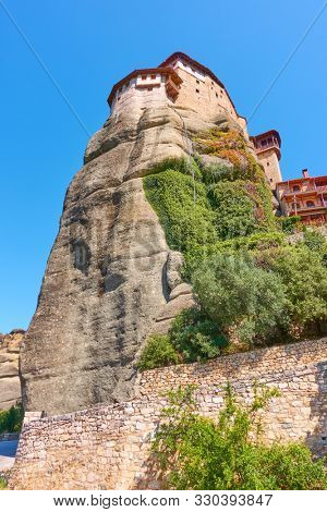 The Monastery of Rousanou on the cliff in Meteora, Greece