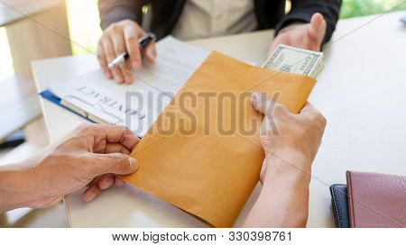 Businessman Receive An Envelope For Bribing, Money Corruption Of Their Partner With Both Of Whom Are