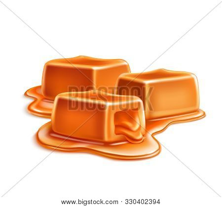 Caramel Candles Toffee Realistic Composition On Blank Background With Cubic Bars In Puddle Of Liquid