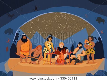 Primitive Men Family Cooking Meat On Fire In Cave Cartoon Vector Illustration