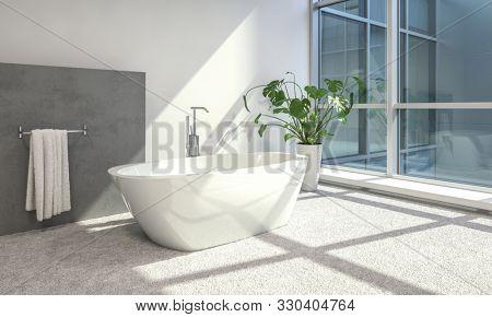 Modern bathroom interior with freestanding bathtub. 3d Rendering