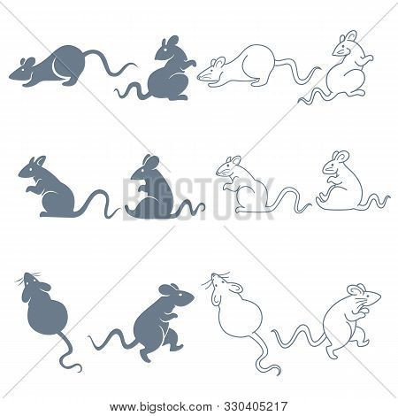 Rat Or Mouse Isolated Silhouettes And Linear Icons, Sneaking And Sitting