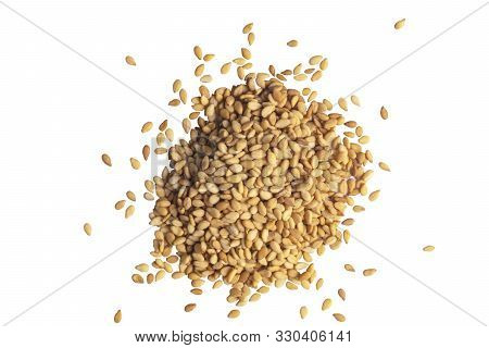 Macro Shot Of A Raw White Sesame Seed Isolated On White Background. Top View. Food Background. A Sca