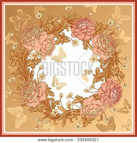 Wreath Of Luxurious Flowers Peonies, Baroque Style Ornament Details And Butterflies. Pink, White And