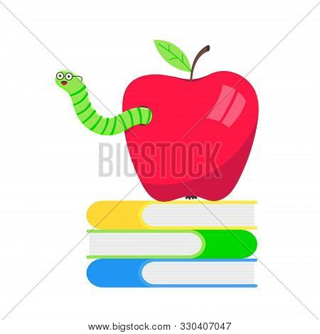 Worm With Apple Cartoon Character Icon Sigh. Worm With Face Expression Smilling Pop Up Above The App