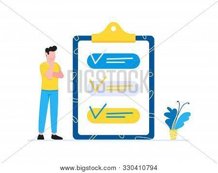 Effective Planning Time Management Business Concept. Man Standing Near Clipboard With Tick V Check M