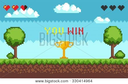 Computer Pixel Game Interface, Text You Win Over Golden Trophy Goblet. Arcade Game World And Pixel S