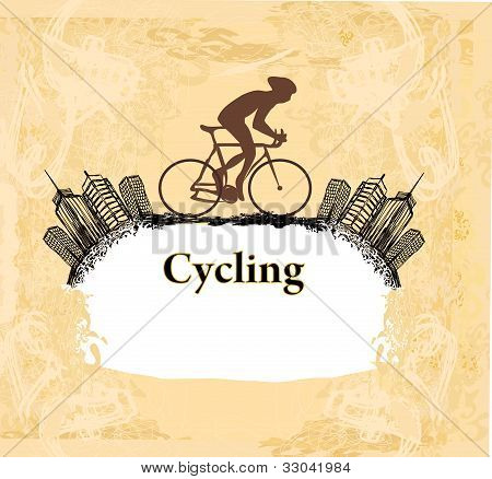 Cycling sport Grunge Poster Template , vector illustartion poster