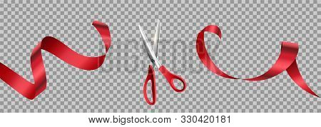 Red Scissors Cut Ribbon Realistic Illustration. Grand Opening Ceremony Symbols, 3d Accessories On Tr