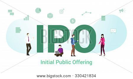 Ipo Initial Public Offering Concept With Big Word Or Text And Team People With Modern Flat Style - V