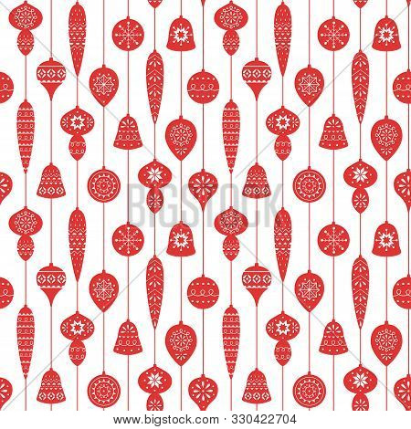 Christmas Red Seamless Pattern With Balls And Icicles For Holiday Celebrations Scandinavian Nordic S