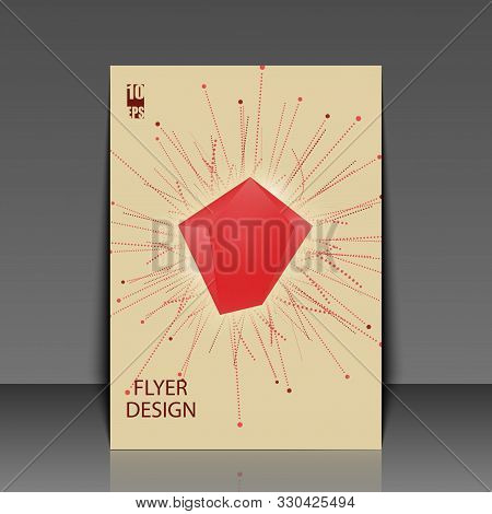 Abstract Faceted Element Cracked Into Multiple Fragments. Explosion Effect. Flyer Template. Eps10 Ve