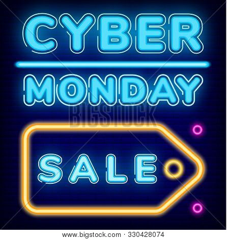 Cyber Monday Sale Vector. Promotional Banner With Pricetag, Deals For Shoppers. Business Offer For C