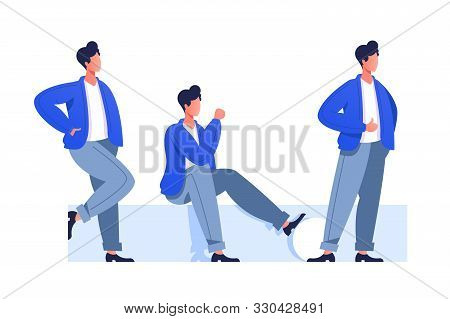 Male Characters Poses Vector Illustration. Different Postures Of Cartoon Guys. Man In Casual Clothes