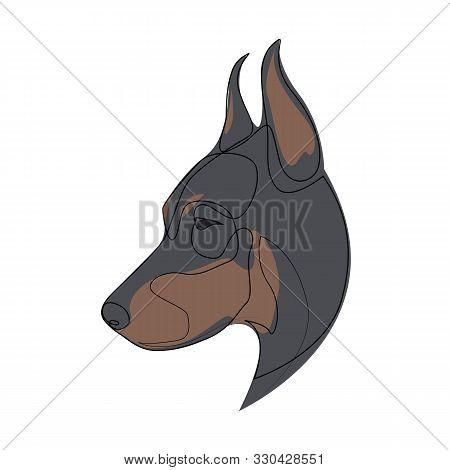 Continuous Line Doberman Pinscher. Single Line Minimal Style Doberman Dog Vector Illustration