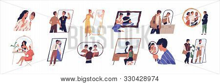 Self Perception And Self Esteem Flat Vector Illustration Set. People Dreaming About Future Near Mirr