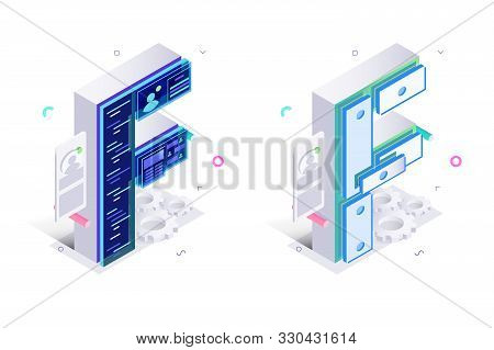Letters F With Social Networks Elements Vector Illustration. Creative 3d Isometric Design Of Alphabe