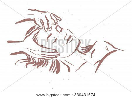 Human Hands Massaging Beautiful Lady Model Laying. Hand Drawn Sketch Vector Illustration. Face Massa